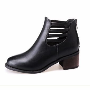 Giày bốt nữ da cổ thấp dây chéo cổ chân Doni86 BT201D (Đen)