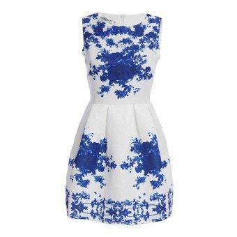 Women Mini Dress A-Line Round Collar Floral Print (Blue) - Intl