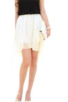 Asymmetric Chiffon Skirt (White) - Intl