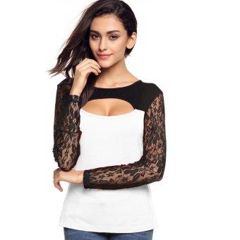 Cyber Finejo Fashion Women O-Neck Lace Long Sleeve Hollow Patchwork Slim Blouse Tops (White) - Intl