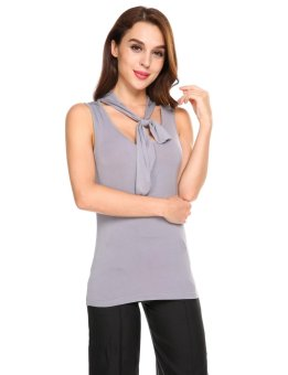 Linemart Women V-neck Sleeveless Tank Tops Lace-up Solid Slim Casual Sports Tops ( Grey ) - intl