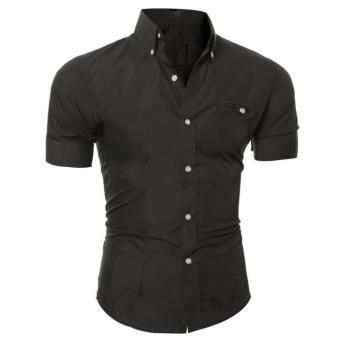 Men Fashion Luxury Business Stylish Slim Fit Short Sleeve Casual Shirt Black - intl