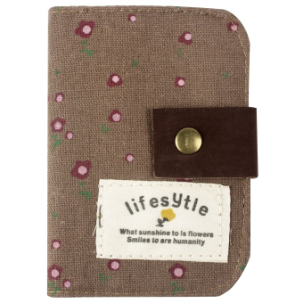 Country Style Canvas Credit Business ID Card Bag Pocket Wallet Holder Coin Pouch 20 slots Coffee (Intl)