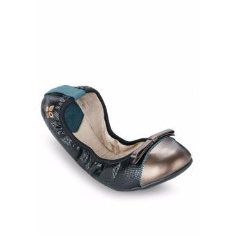 Giày Búp Bê Butterfly Twists Cara (Bt01012-211) Đen Họa Tiết Da Rắn