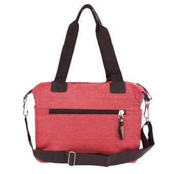 Retro Men Women Canvas Handbag Large Capacity Casual Shopping Travel Crossbody Bag Shoulder Messenger Bag Watermelon Red - Intl