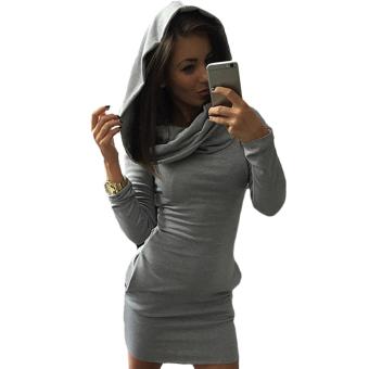 Fancyqube Long Sleeve Fashion Casual Style women dress Grey