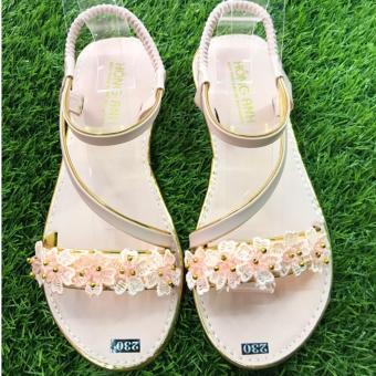 Giày sandal kết hoa cao cấp -Duyên dáng phái đẹp (hồng cam)
