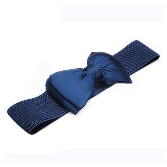 Bluelans Wide Stretch Buckle Bowknot Waistband (Blue) (Intl)