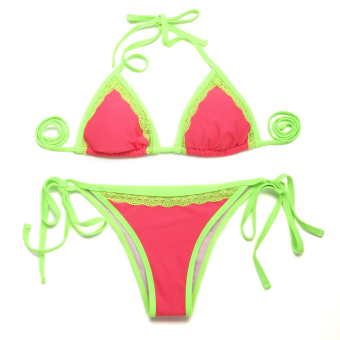 Colloyes 2015 New Sexy Watermelon Red Double Green Lace Trim Triangle Top With Classic Cut Bottom Bikini Swimwear Size L (Pink) - Intl