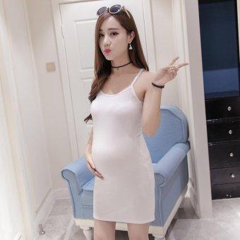 Summer Maternity Dresses Sleeveless Pregnant Women Harness Vest Dress (White) - intl