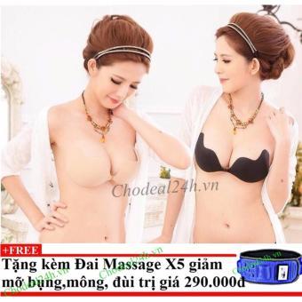 Bộ 2 Áo dán nâng ngực hình xoài tạo khe vòng 1+ Tặng đai massage x5 giảm mỡ