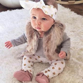 1Set Newborn Baby Boys Girls Deer Tops Romper Pants Hat 3PCS Outfits Clothes - intl