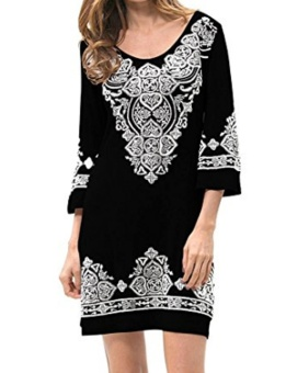Cyber New Fashion Women Casual Plus O-Neck Floral A-Line Hem Pullover Print Loose Dress ( Black ) - intl