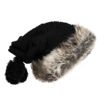 2015 Hot sell Women Knit Hat Winter Warm Crochet Hat Rabbit Scarf (Black) (Intl)