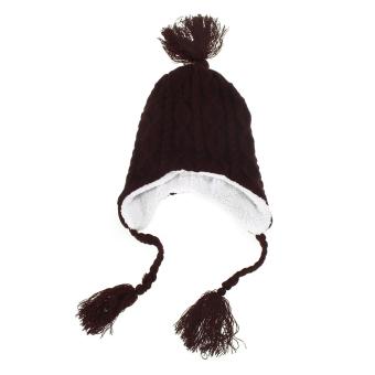 New Winter Women Caps Hats Hot Plush Earflap Knitted Wool Beanie Cap Coffee (Intl)