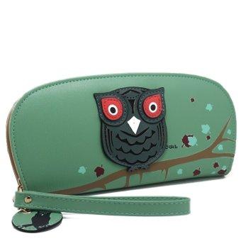 Wallet New Lovely Lifelike Owl Folded Zip Hollow Out Wallets Purse Bag Wristlet Pocketbook Green - Intl - intl