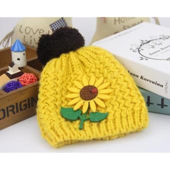 Mũ len đính hoa hướng dương vàng