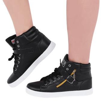 Stylish Zipper Decoration Magic Tape Male Breathable Sneakers(Black) - intl