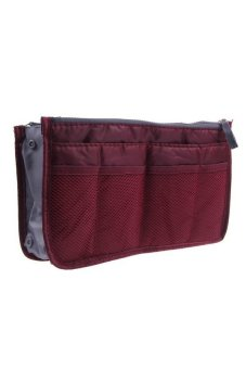 HKS Women Travel Insert Handbag Organiser Purse Large Liner Tidy Cosmetic Bag Wine Red - intl