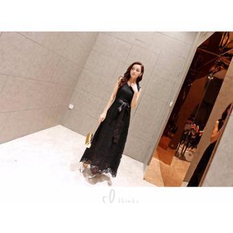 ĐẦM MAXI REN HOA NỔI THẮT NƠ LINDA CAO CẤP- 260 - GS2363QC (đen)