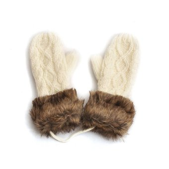 Fashion Winter Women Gloves Mitten Thick Warm Knitted Faux Fur Christmas Cute Beige - Intl