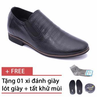 Giày da công sở tăng chiều cao Smartmen SM-01 (Đen), tặng kèm 1 hộp xi, 1 đôi tất, và 1 lót khử mùi cao cấp