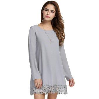 Linemart Women Loose Long Sleeve Crochet Lace Fringed Solid Short A-Line Chiffon Dress ( Grey ) - intl