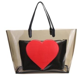 Cyber Fashion Bag Set Heart Pattern Tote Bag and Clutch Bag ( Black ) - intl