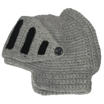 Unisex Adult Roman Knight Gladiator Helmet Knit Wool Hat Outdoor Winter Warm Soft Wind Mask Detachable Beanie Cap Gift Gray - intl