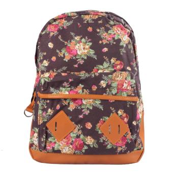 Women Girl Canvas Rucksack Flower Backpack School Book Shoulder Bag Brown - Intl