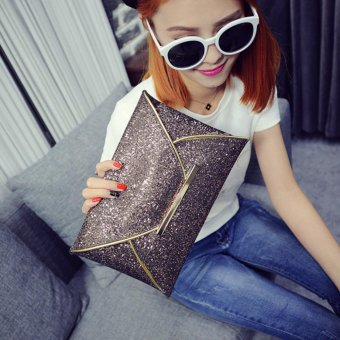 Moonar Women Glitter Sequin Evening Party Hand Bag Pouch Envelope Handbag Clutch (Coffee) - intl