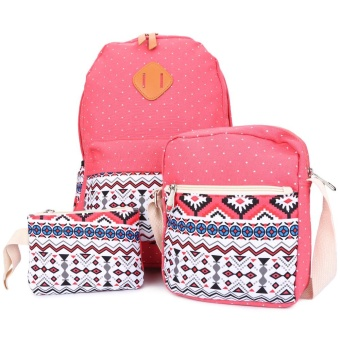 Guapabien 3pcs Fahion Women Bag Casual Print Zipper Type Student Backpack - intl