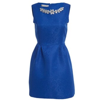 Women Ball Gown Dress Necklace Round Collar Pure Color (Blue) - Intl