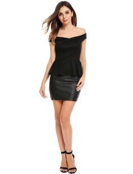 Linemart Women Sexy Off Shoulder Cross Wrap Front Sleeveless Ruffle Hem Peplum Top ( Black ) - intl