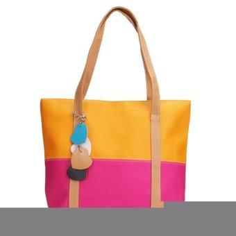 Women Lady Handbag Patchwork Shoulder Shopping Bag Rose Red - Intl