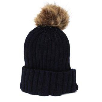 Solid Crochet Ski Beanies Caps Women Men Warm Hat Braided Knitting Sphere Wool Skull Hats - Intl