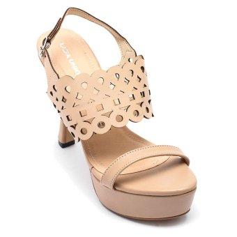Giày đúp cao gót nữ cut-out, gót cong LADA UNIQUE PS10 (Kem)