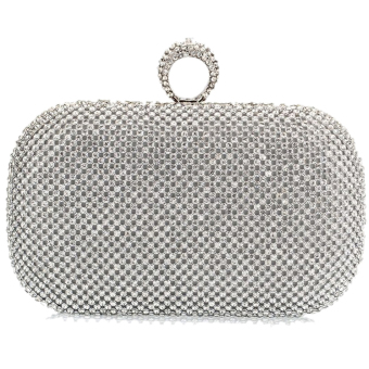 Vococal Rhinestone Clutch Purse (Silver)