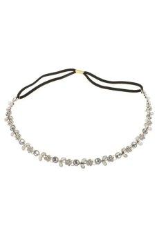 Cyber Silver Crystal Flower Elastic Hair Band Headband (Silver) - Intl