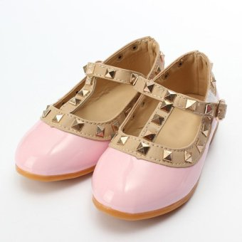 Kids Girls Toddler Sandals Buckle Princess Rivet T-strap Flats Pointed Toe Shoes Pink - intl