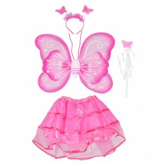 4 PCS/Set Cute Butterfly Wings Style Children Kids Wing Wand Headband Dresses Girl Fairy Stage Costume for Halloween Cosplay School Show Party Rose