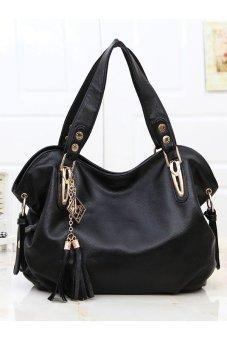 Luxury Ladies Leather Shoulder Bag (Black)