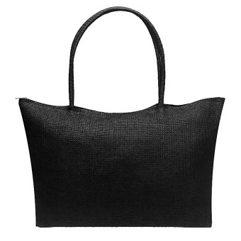 Simple Candy Color Large Straw Beach Bags Women Casual Shoulder Bag Black