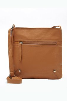 Leather Satchel Messenger Handbag (Light Brown)