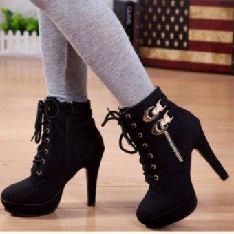 Giày boot nhung cổ cao F3979.com-B040(Đen)
