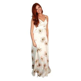 Zaful Long Dress V-neck Backless Printed Sleeveless - Intl