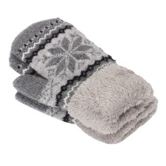 Women's Warm Winter Snow Gloves Mittens Grey - Intl