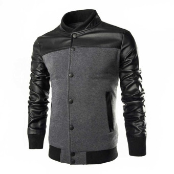 Male Cotton Blends Patchwork Jacket (Gray) - intl