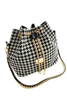 Fancyqube Plaid Handbag Chain Pearl Bucket Women Bag Shoulder Bags White Black - Intl