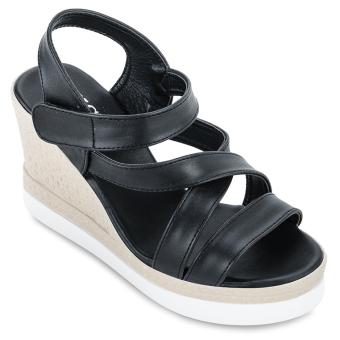 Giày Sandals Đế Xuồng Nữ Lucky Việt 513-8074 (Đen)